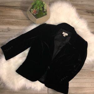 Ann Taylor LOFT  Black Velvet Blazer Jacket Sz 8